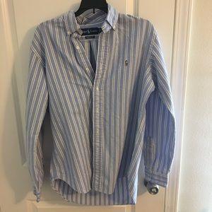 Ralph Lauren Striped Button Down Polo Shirt. Sz M